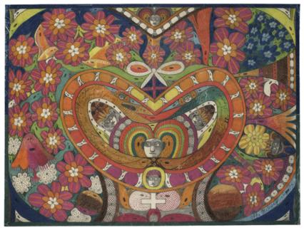 Adolf.Wölfli.1922.Corona de espinas de Rosalía en forma de corazón